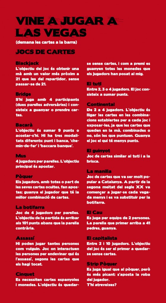 Carta de menu del bar De Mataró a la vegas