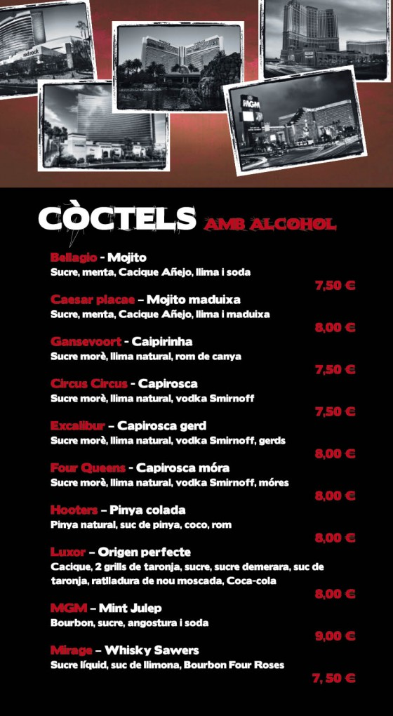 Carta de cocteles del bar De Mataró a la vegas